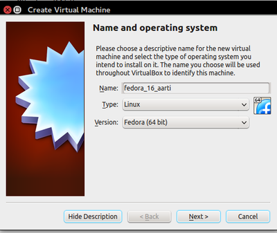 Fedora 16 installation using VirtualBox - COEP Wiki